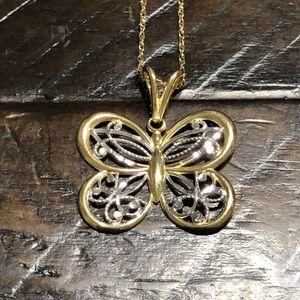 Mervyn's 14k Butterfly Pendant Necklace